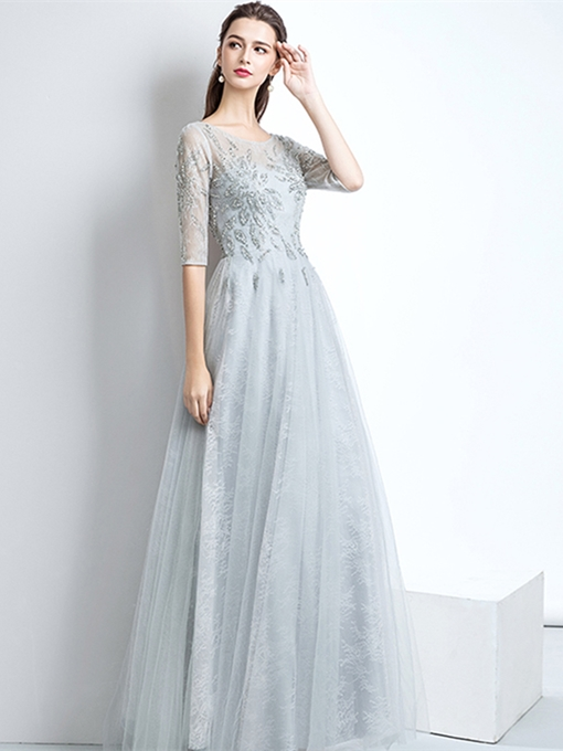 A-Line Beading Lace Scoop Evening Dress