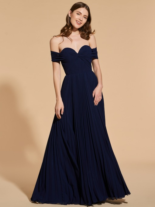 A-Line Pleats Off-the-Shoulder Prom Dress