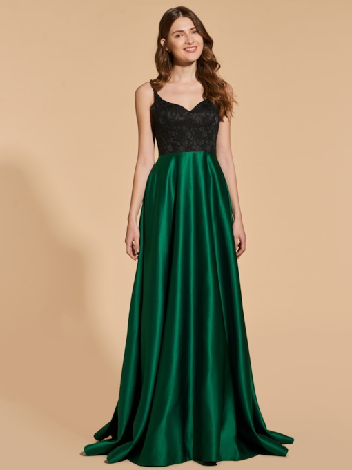 A-Line Empire Spaghetti Straps Prom Dress