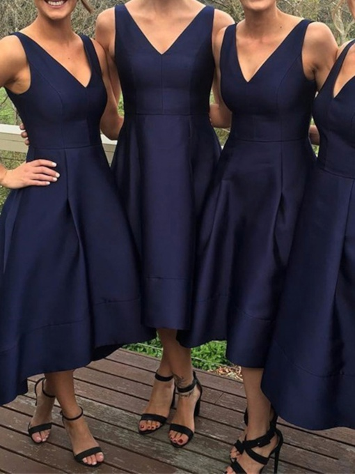 V-Neck A-Line High Low Cheap Bridesmaid Dress
