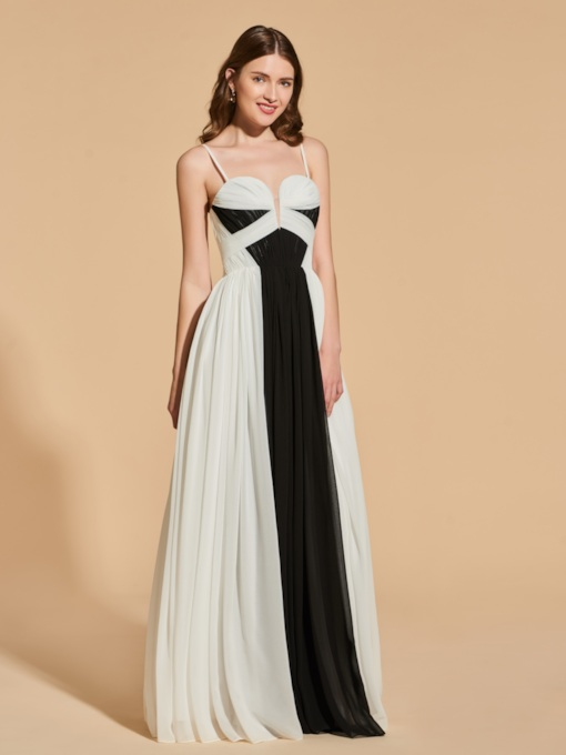 A-Line Spaghetti Straps Contrast Color Prom Dress