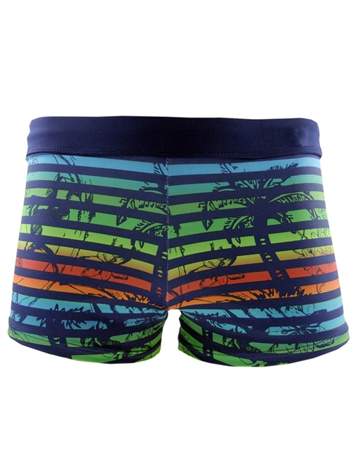 Print Elastic Slim Men's Boxer Swim Trunks