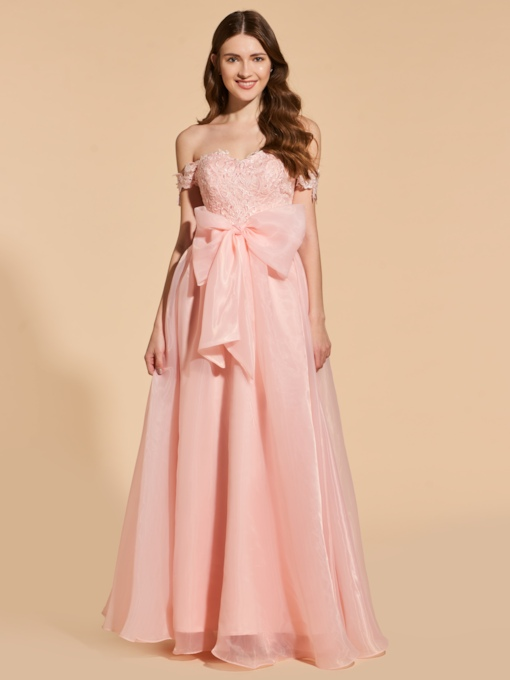 Appliques A-Line Off-the-Shoulder Bowknot Prom Dress