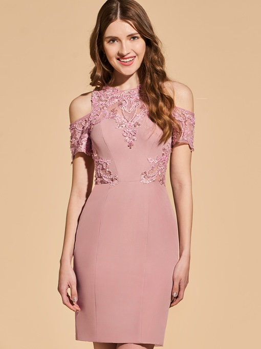Sheath Beading Lace Scoop Empire Cocktail Dress
