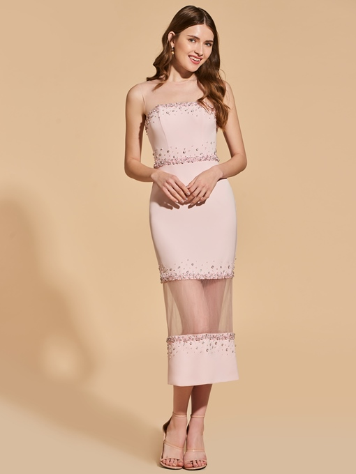 Sheath Beading Scoop Tea-Length Cocktail Dress