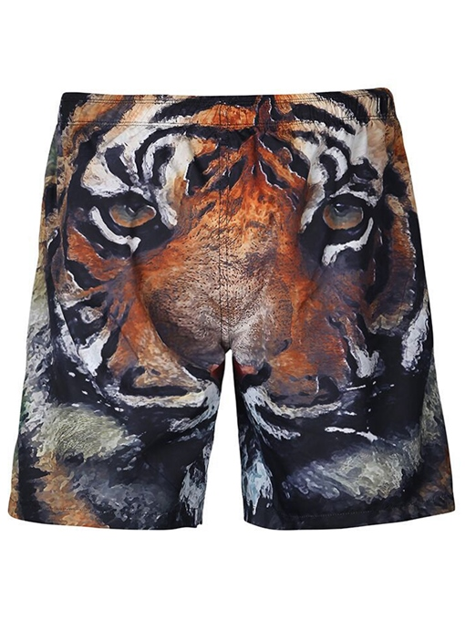 Tiger Print Loose Men's Beach Shirts