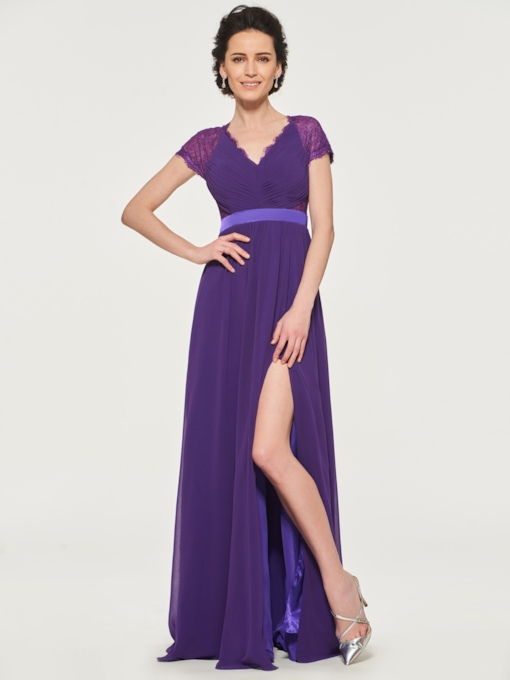 Lace Cap Sleeves Split-Front Mother of the Bride Dress