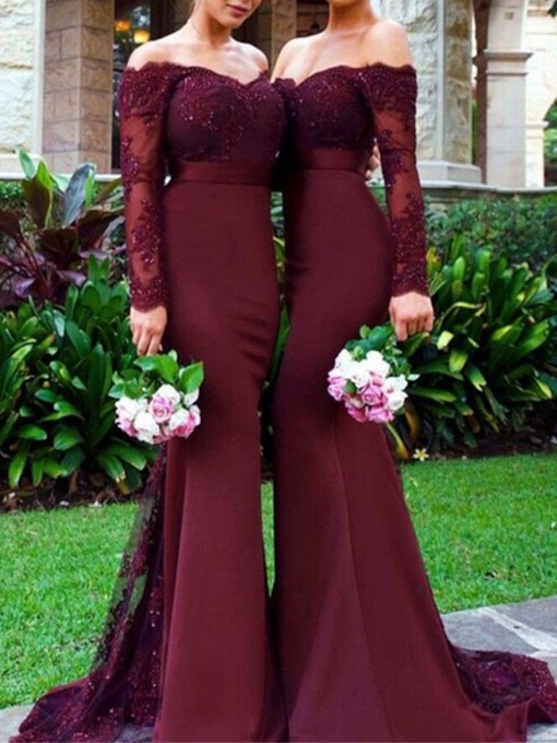 Appliques Mermaid Long Sleeve Bridesmaid Dress