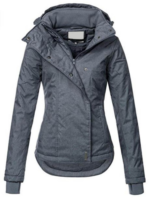 Hooded Slim Zipper Pockets Short Women's Jacket