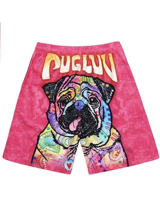 Dog Print Loose Men's Swim Shorts