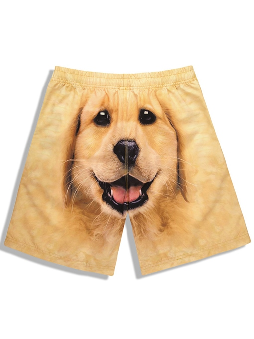 Dog Print Plain Quick Dry Men's Beach Shorts