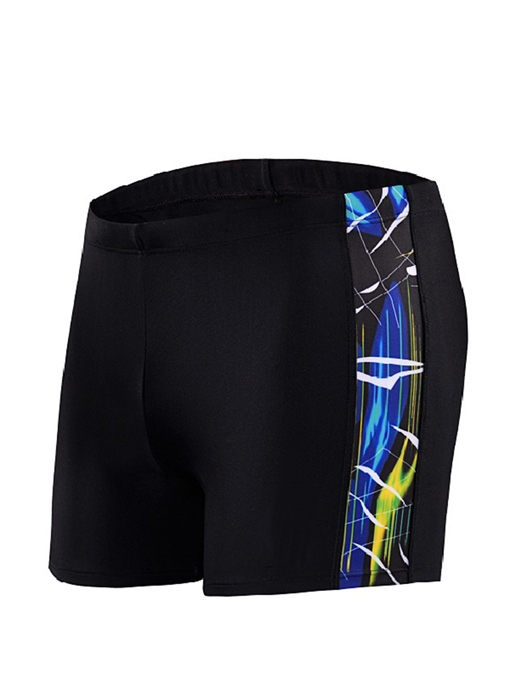 Patchwork Elastic Slim Men's Boxer Swim Trunks