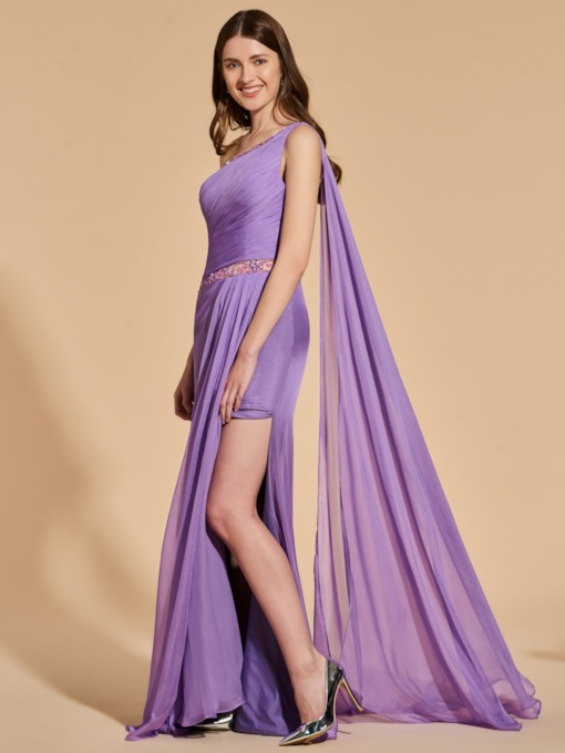 Beading Pleats Sheath One-Shoulder Prom Dress