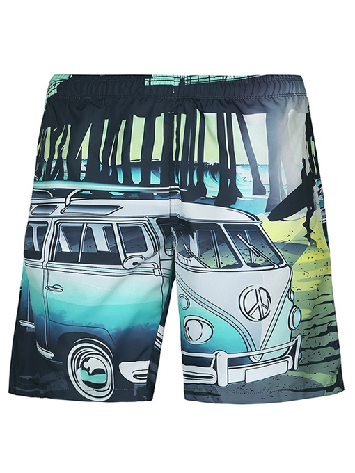 Graphic Print Loose Men's Beach Shorts