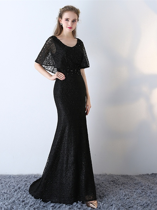 Mermaid Lace Scoop Long Evening Dress