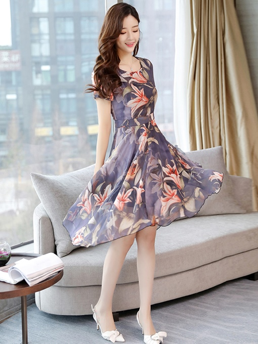 Purple Short Sleeve Chiffon Women's Day Dress