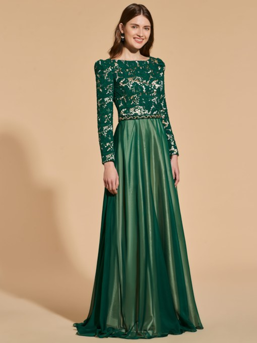 Beading Belt Long Sleeves Lace Evening Dress