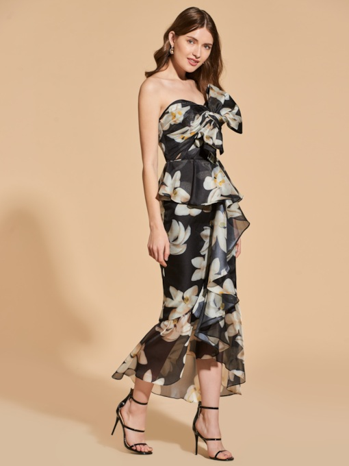 Sweetheart Bowknot Printed Ruffles Empire Cocktail Dress