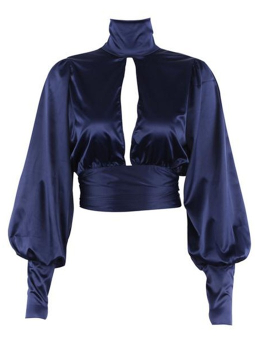 Turtleneck Hollow Backless Women's Blouse