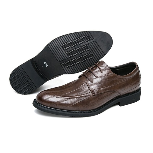 Round Toe Thread Lace Up Block Heel Shoes for Men