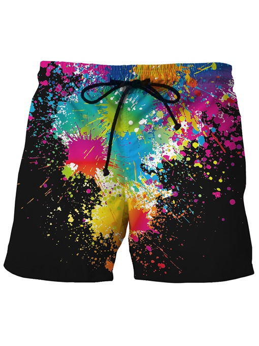 Quick Dry Splash-Ink Loose Men's Beach Shorts