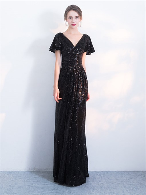 A-Line Sequins V-Neck Evening Dress