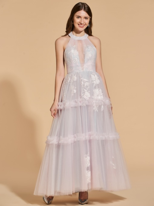 A-Line Halter Backless Lace Prom Dress