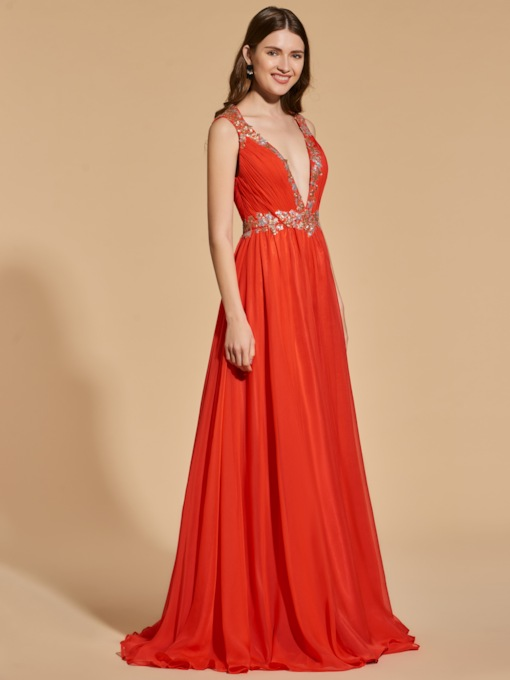 A-Line Beading Empire V-Neck Prom Dress