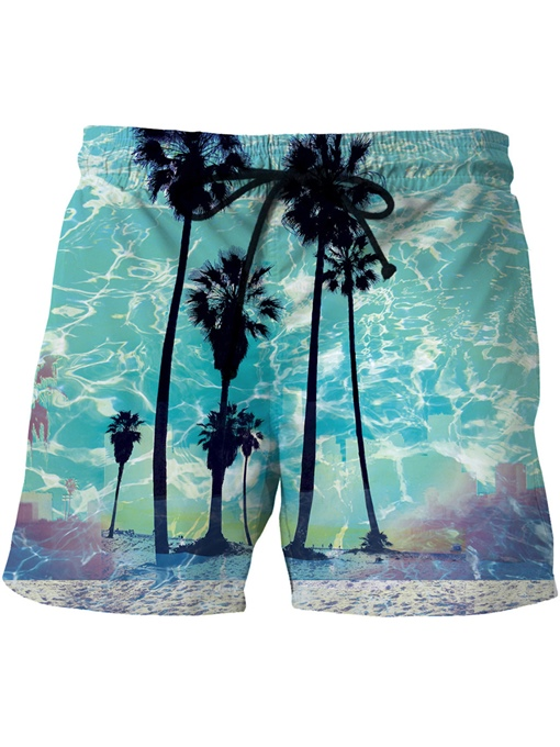 Graphic Print Slim Men's Swim Shorts