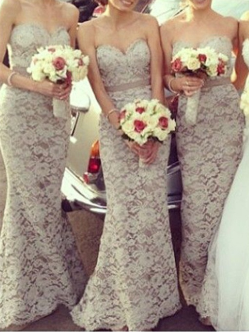 Sweetheart Mermaid Lace Bridesmaid Dress