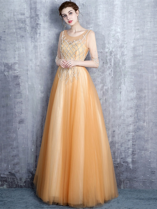 A-Line Scoop Beading Sashes Evening Dress