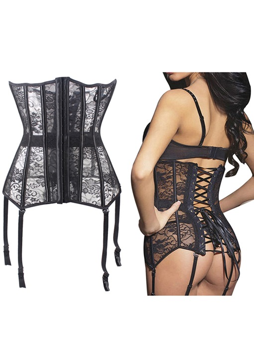 Lace-Up See-Through Corset with Garter