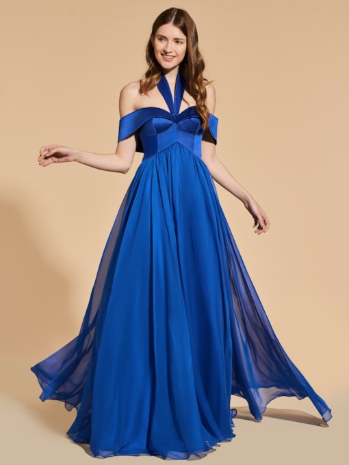 A-Line Empire Open Shoulder Prom Dress