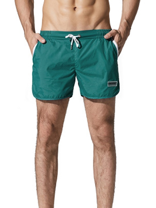 Plain Solid Color Slim Men's Swim Shorts
