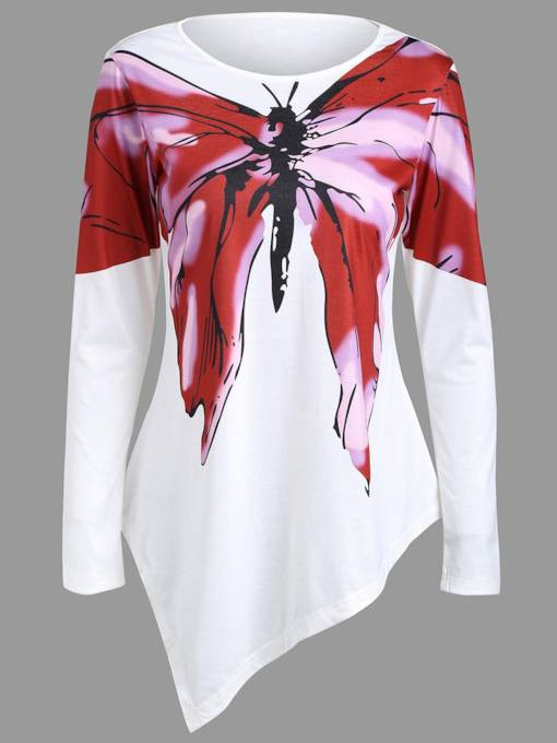 Asymmetric Loose Butterfly Print Women's T-Shirt