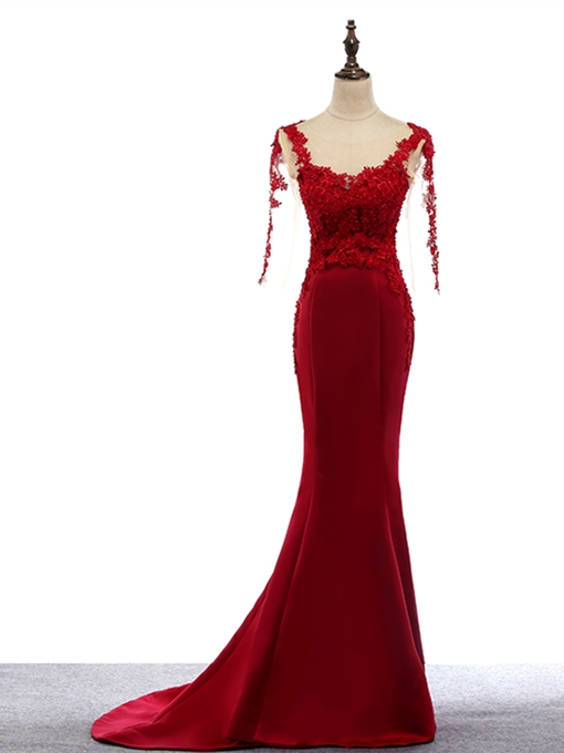 Mermaid Appliques Scoop Sweep Train Evening Dress