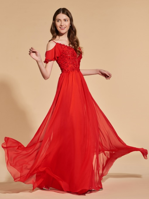 Open Shoulder Appliques Beaded Red Prom Dress