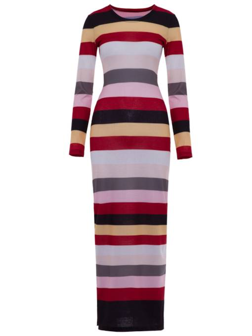 Striped Round Neck Women's Sweater Dress
