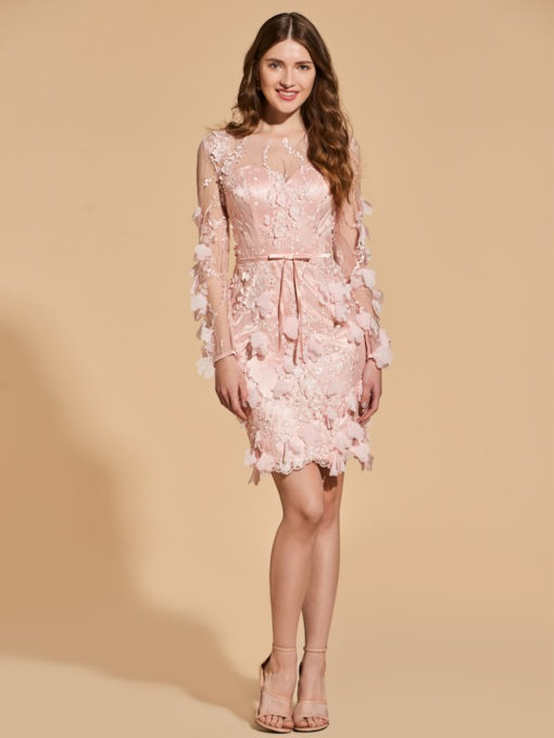 Sheath Appliques Bowknot Button Lace Cocktail Dress