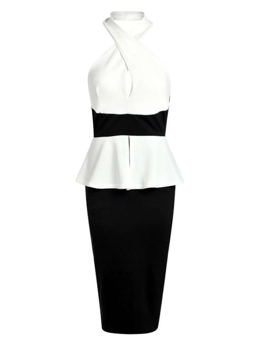 Tidebuy Color Block White Halter Women's Pencil Dress
