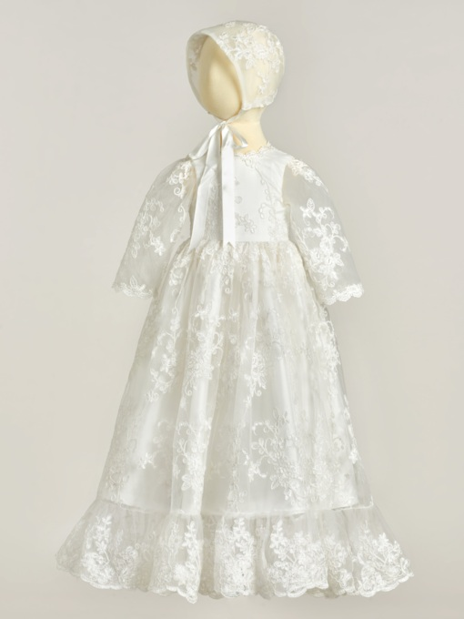 Sleeves Appliques Lace Christening Gown with Hat