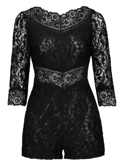 Black Lace Boat Neck Women's Romper