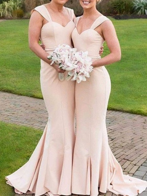 Sweep Train Straps Mermaid Long Bridesmaid Dress