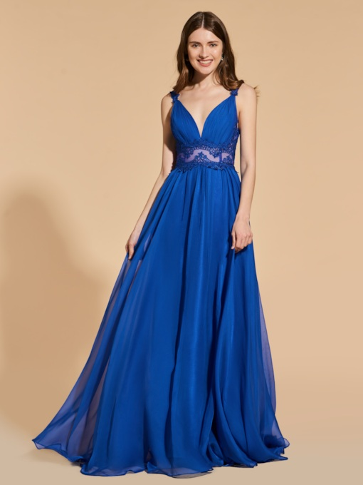 A-Line V-Neck Appliques Prom Dress