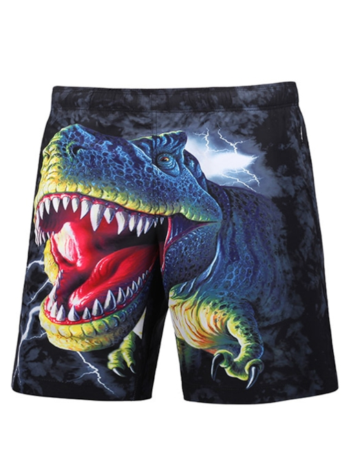 3D Dinosaur Print Quick Dry Men's Beach Shorts
