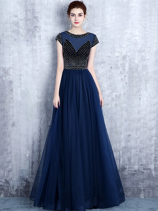 A-Line Scoop Beaded Long Evening Dress
