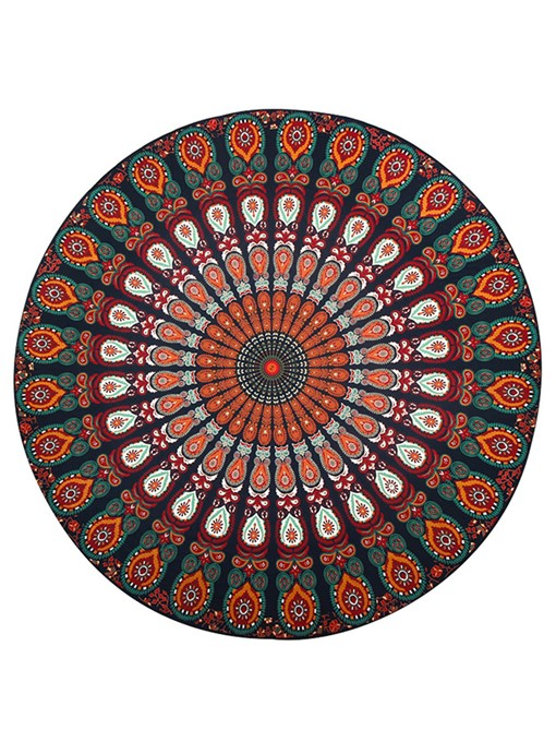 Vintage Print Round Beach Throw