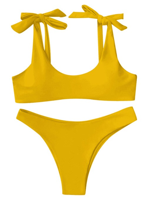 Solid Color Adjustable Strap Women's Bikini Set