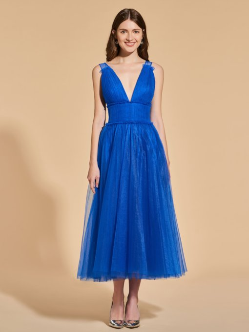V-Neck A-Line Pleats Empire Prom Dress