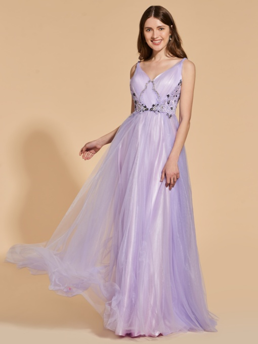 A-Line V-Neck Beading Lace Prom Dress